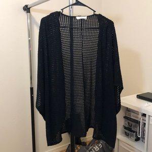 Knit black Kimono